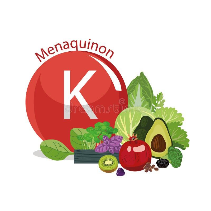Vitamine K Nourritures organiques naturelles avec le conte élevé de vitamine illustration stock