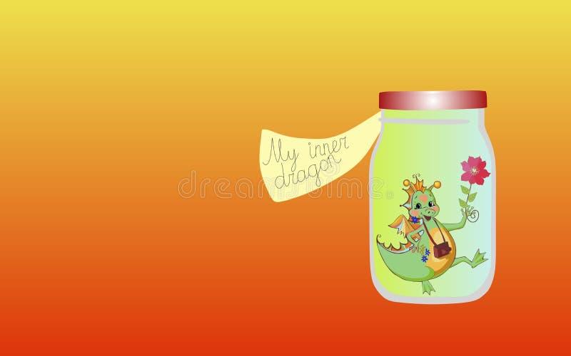 Vitamine per l'anima 1 Il mio drago interno Illustrazione allegorica illustrazione vettoriale