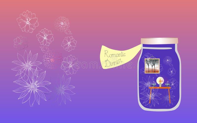 Vitamine per l'anima 2 Illustrazione allegorica Medicina per l'anima Cena romantica illustrazione vettoriale