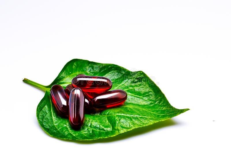 Vitamine sulla foglia verde immagine stock