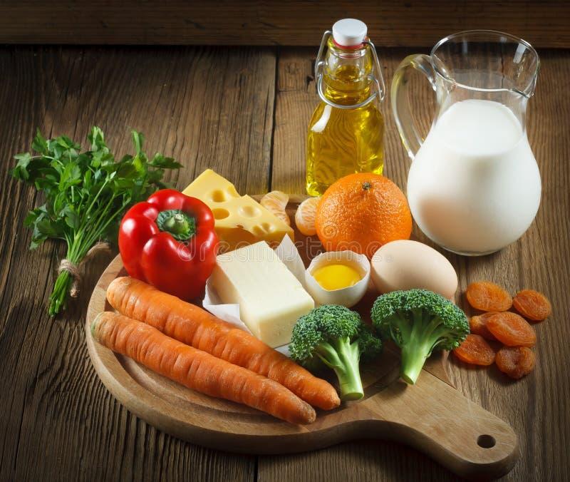 Vitamine A in Voedsel stock afbeeldingen