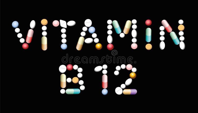 Vitamineb12 Tabletten royalty-vrije illustratie