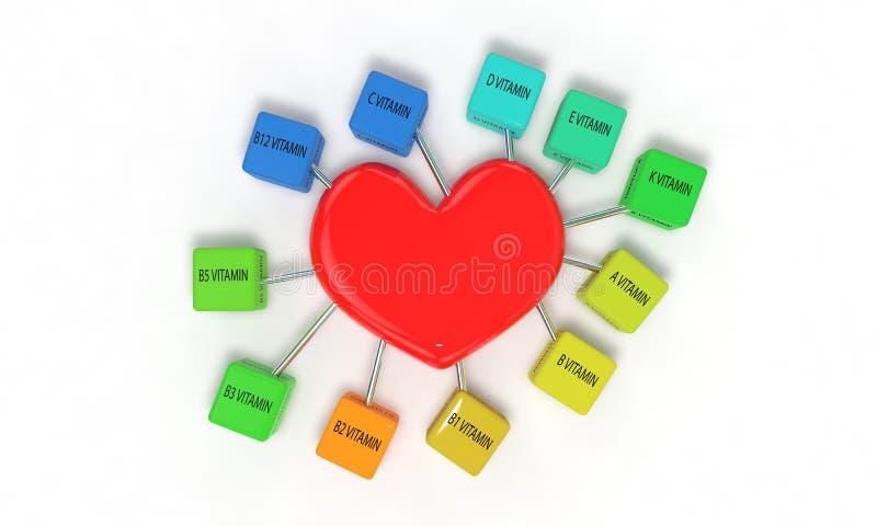 Vitaminen en 3d hartconcept, vector illustratie