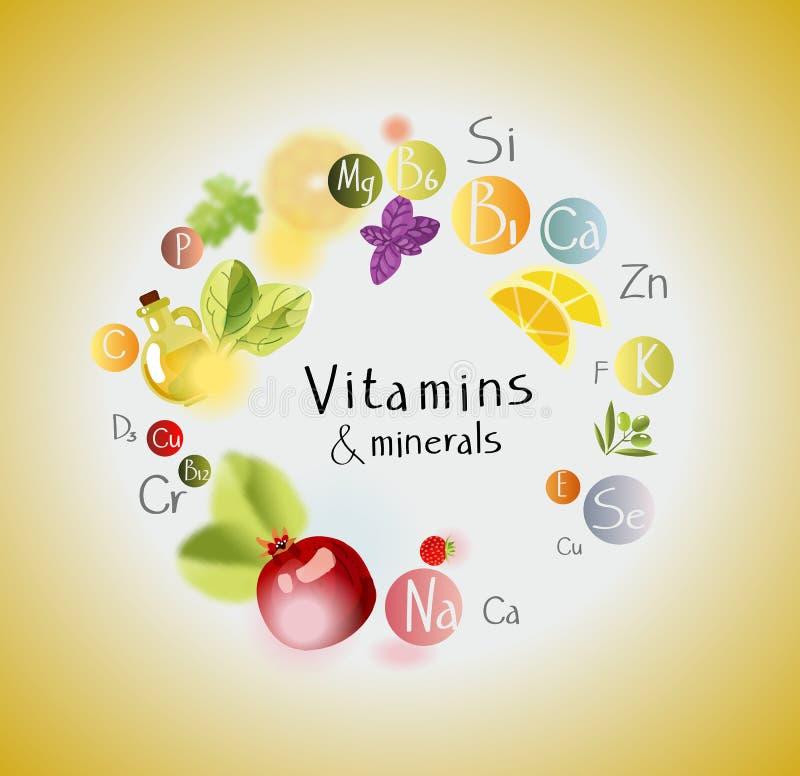 Vitaminen en Mineralen vector illustratie