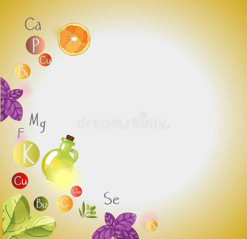 Vitaminen en Mineralen royalty-vrije illustratie