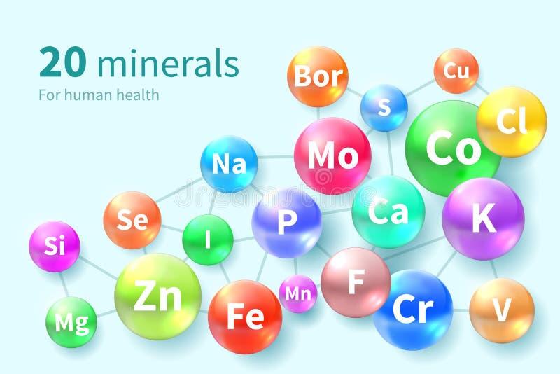 Vitaminen en Mineralen Supplement complex van minerale vitaminepillen vector illustratie