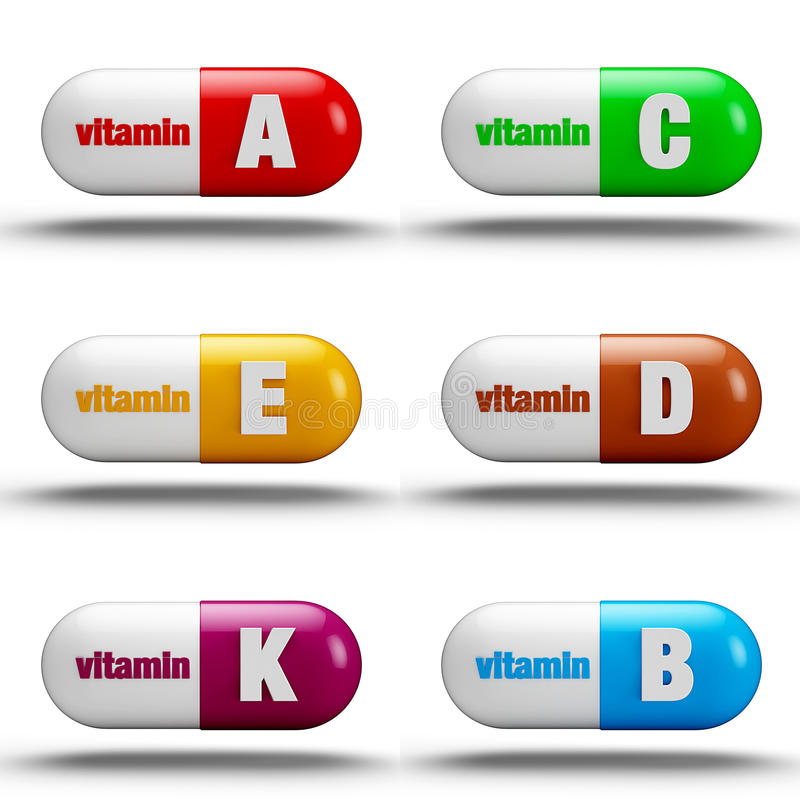 Vitaminepillen stock illustratie