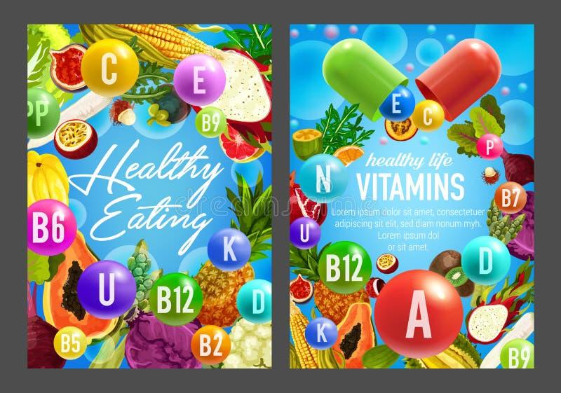 Vitaminer i grönsaker och frukter stock illustrationer