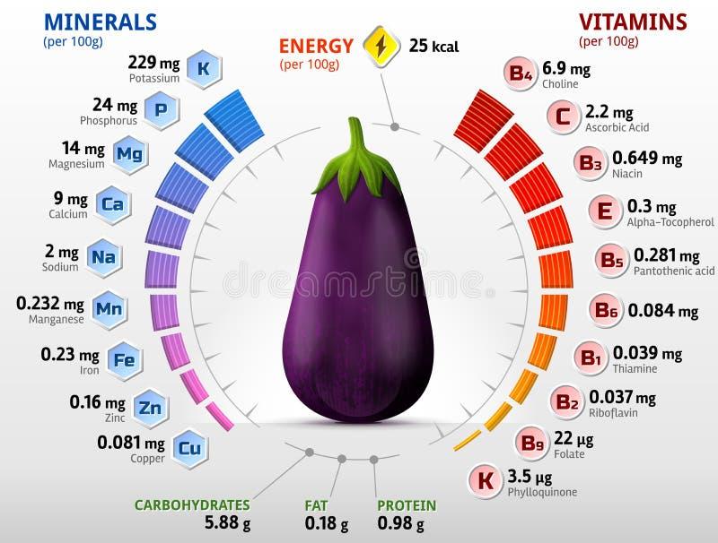 Vitaminer och mineraler av auberginefrukt stock illustrationer