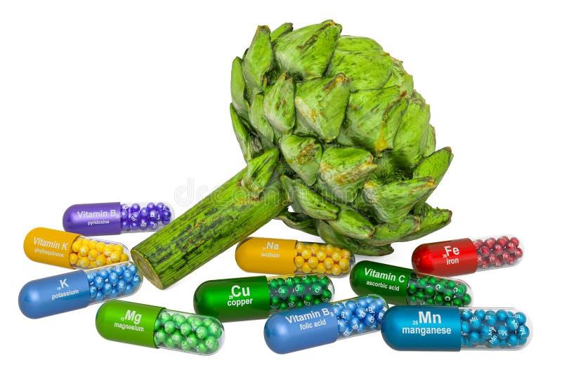 Vitaminer och mineraler av kronkoks, 3D-rening fotografering för bildbyråer