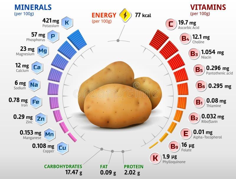 Vitaminer och mineraler av potatisknölen stock illustrationer