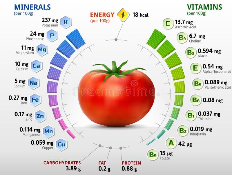 Vitaminer och mineraler av tomaten stock illustrationer
