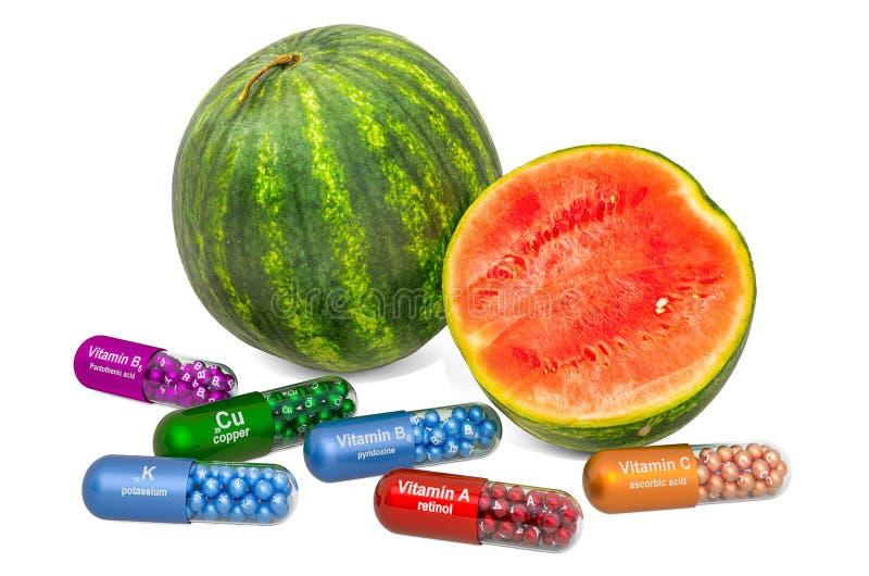 Vitaminer och mineraler av vattenmelon, 3D-rening royaltyfri foto