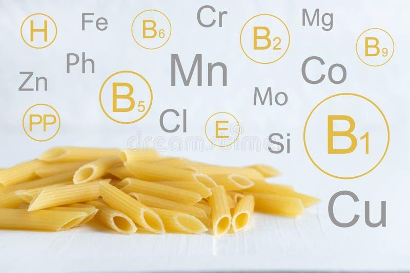 Vitamines et minerais en pâtes dures Photo conceptuelle avec une liste de substances utiles en pâtes Photo pour un blog au sujet  illustration stock
