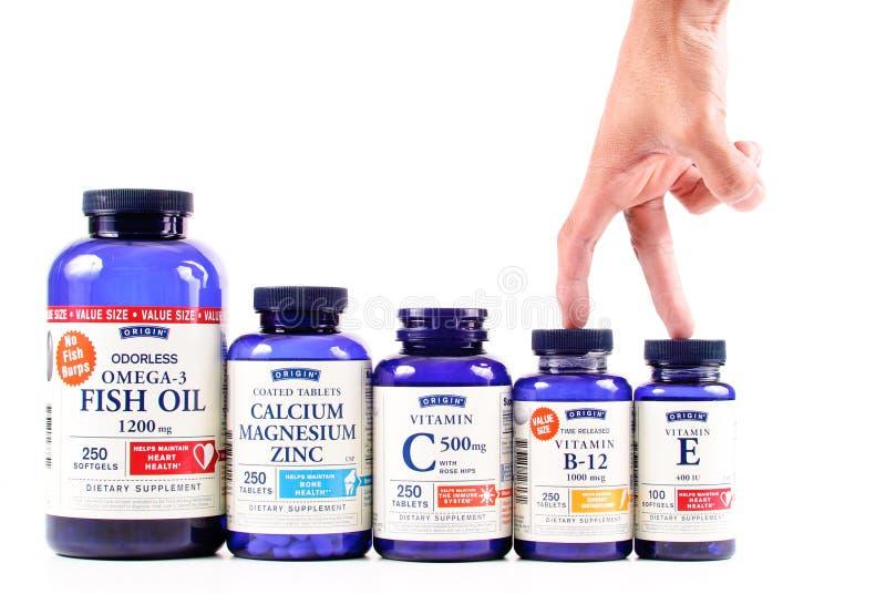 Vitamines universelles de marque d'origine image libre de droits