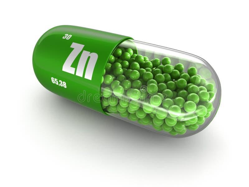 Vitaminkapsel Zn (Beschneidungspfad eingeschlossen) stock abbildung