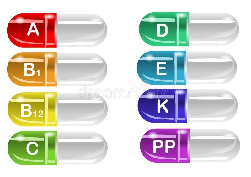 Vitaminpillen stock abbildung