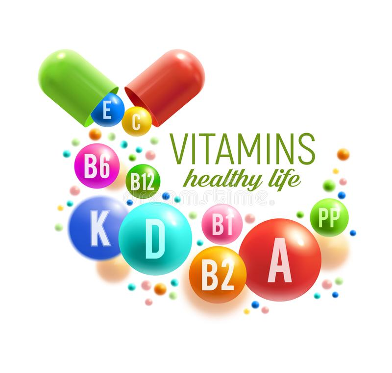 Vitaminpreventivpiller och bollaffisch, multivitamindesign royaltyfri illustrationer