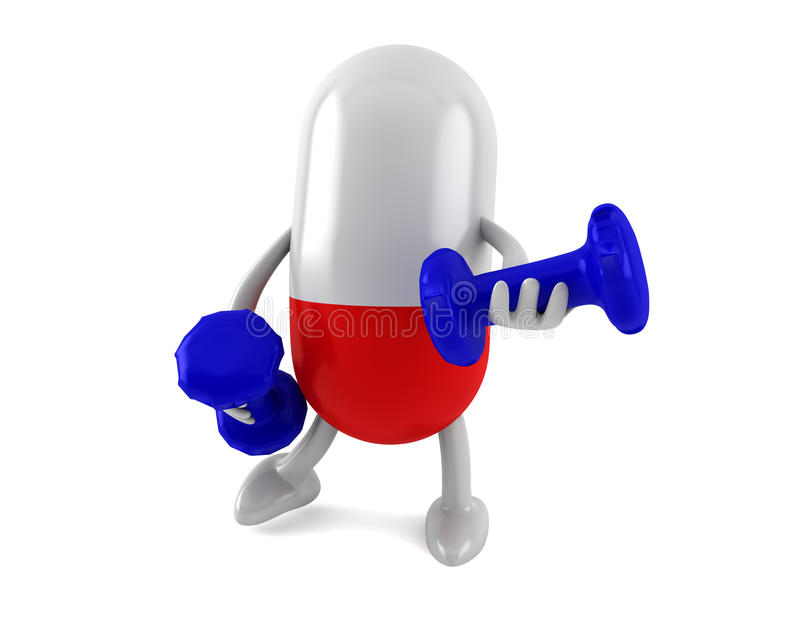 Vitamins With 2 Dumbbells Stock Images