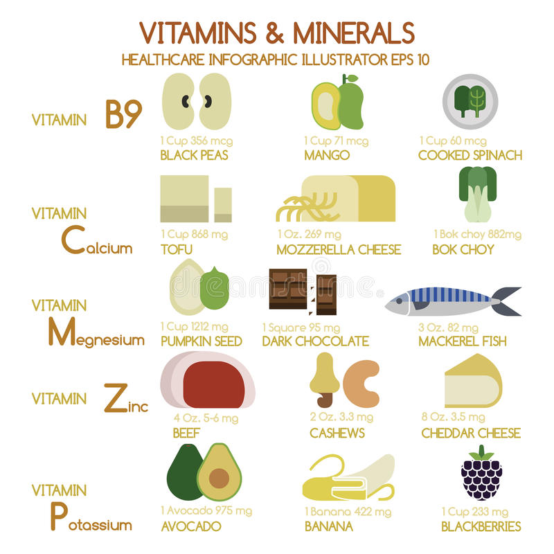 Free Vitamins And Minerals Foods Illustrator Set 2 Stock Photography - 44584922