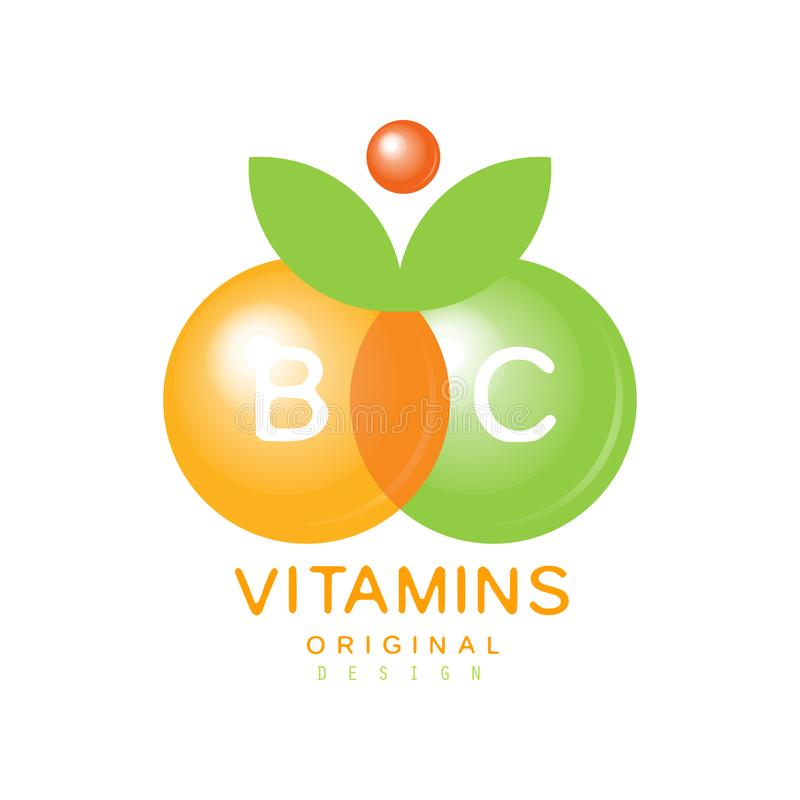 Vitamins B and C logo template original design, pharmacy label, natural medicine vector Illustration. Isolated on a white background stock illustration