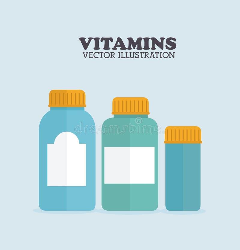Vitamins design. Over blue background, vector illustration royalty free illustration
