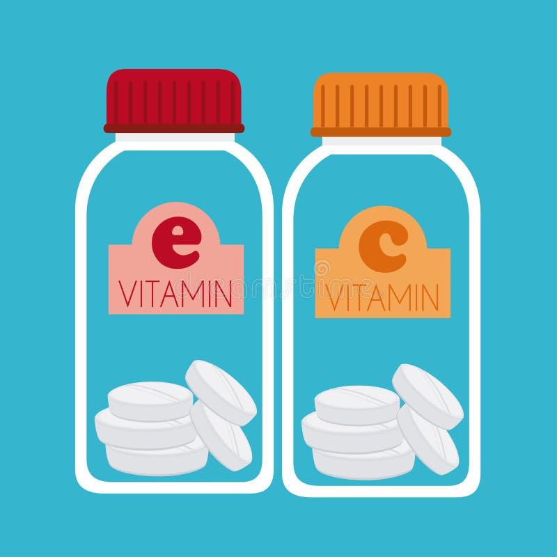 Vitamins design. Over blue background, vector illustration stock illustration