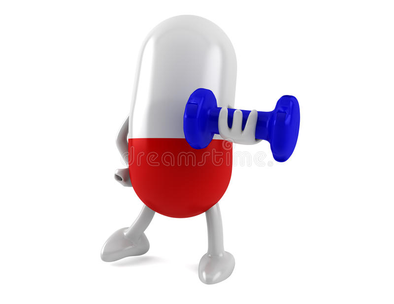 Download Vitamins with a dumbbell stock image. Image of health - 23106285