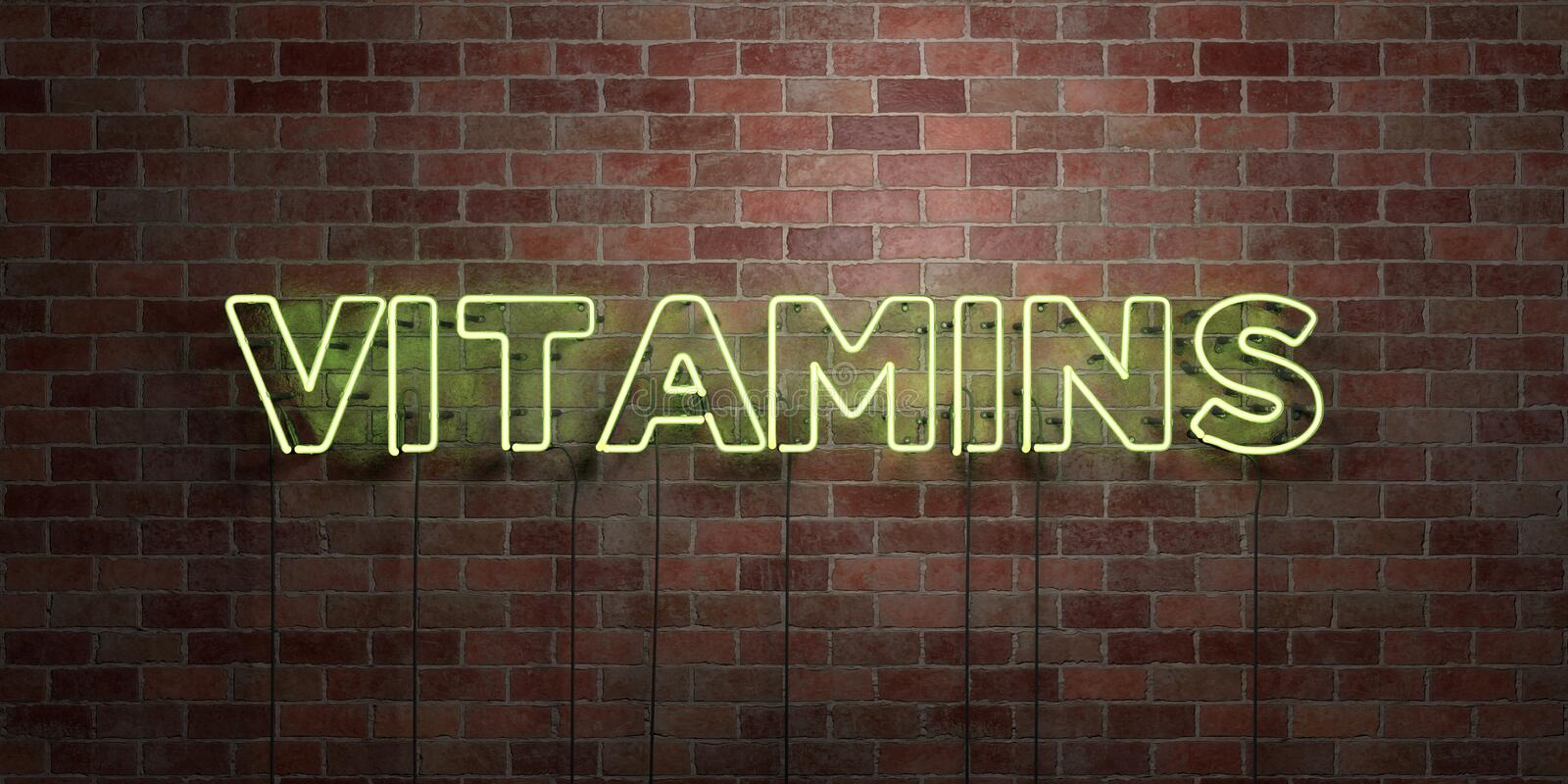 VITAMINS - fluorescent Neon tube Sign on brickwork - Front view - 3D rendered royalty free stock picture. Can be used for online banner ads and direct mailers vector illustration