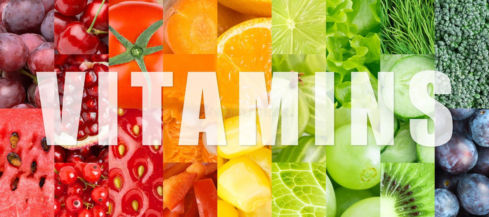 Vitamins. Fresh color fruits and vegetables concept. Vitamins royalty free stock photos