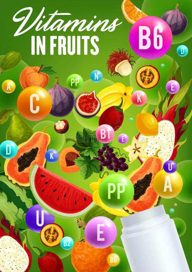 Vitamins complex in natural organic fruits. Vitamins in fruits, natural organic healthy food. Vector multivitamins and mineral complex in figs, watermelon or stock illustration