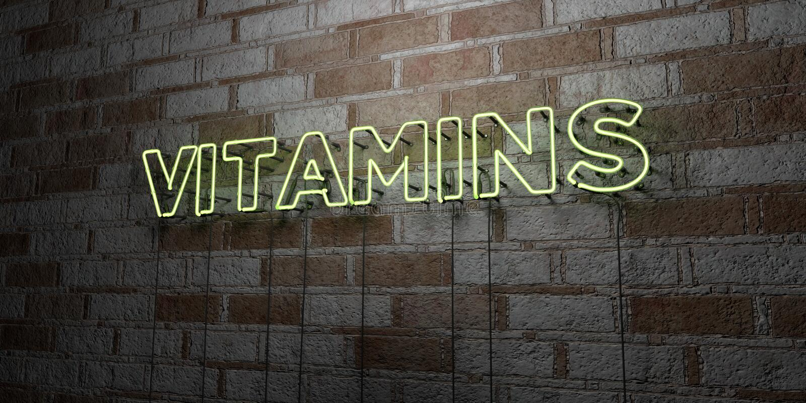 VITAMINS - Glowing Neon Sign on stonework wall - 3D rendered royalty free stock illustration. Can be used for online banner ads and direct mailers royalty free illustration