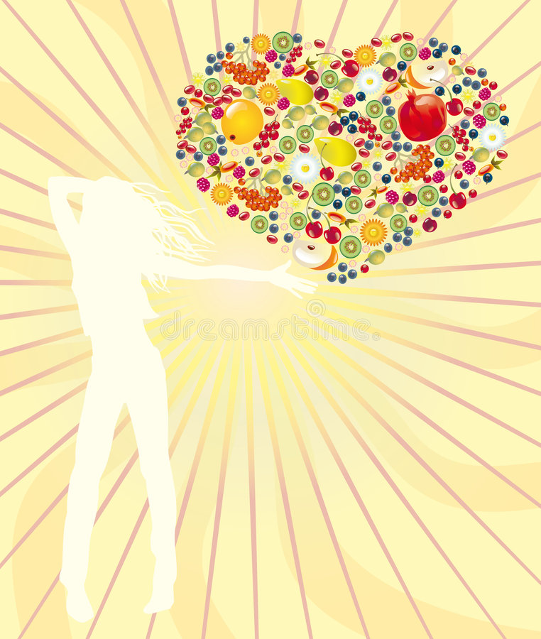Vitamins for the healthy way of life. Many fruit and berries are made in the form of heart vector illustration
