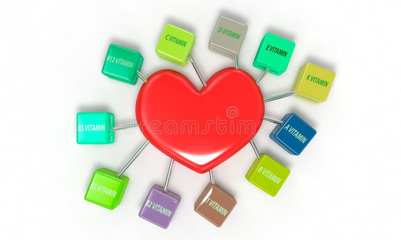 Vitamins and heart concept, 3d render. Working vector illustration