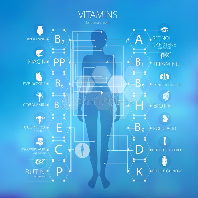 Vitamins for human health. Scheme. The effect of vitamins on the human body royalty free illustration