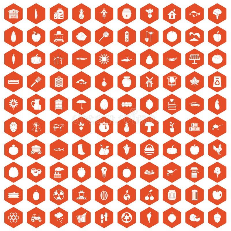 100 vitamins icons hexagon orange. 100 vitamins icons set in orange hexagon isolated vector illustration vector illustration