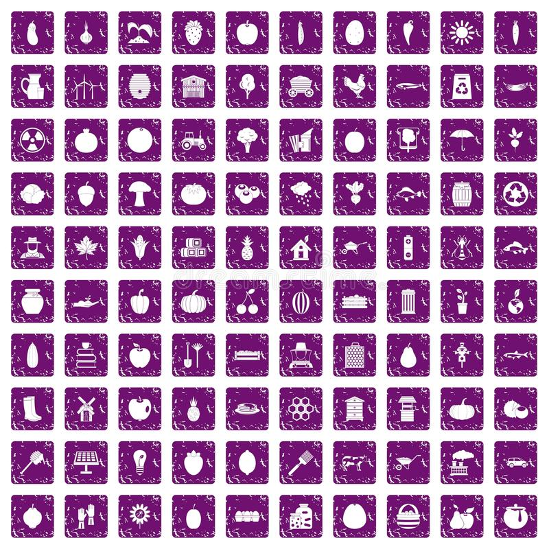 100 vitamins icons set grunge purple. 100 vitamins icons set in grunge style purple color isolated on white background vector illustration royalty free illustration