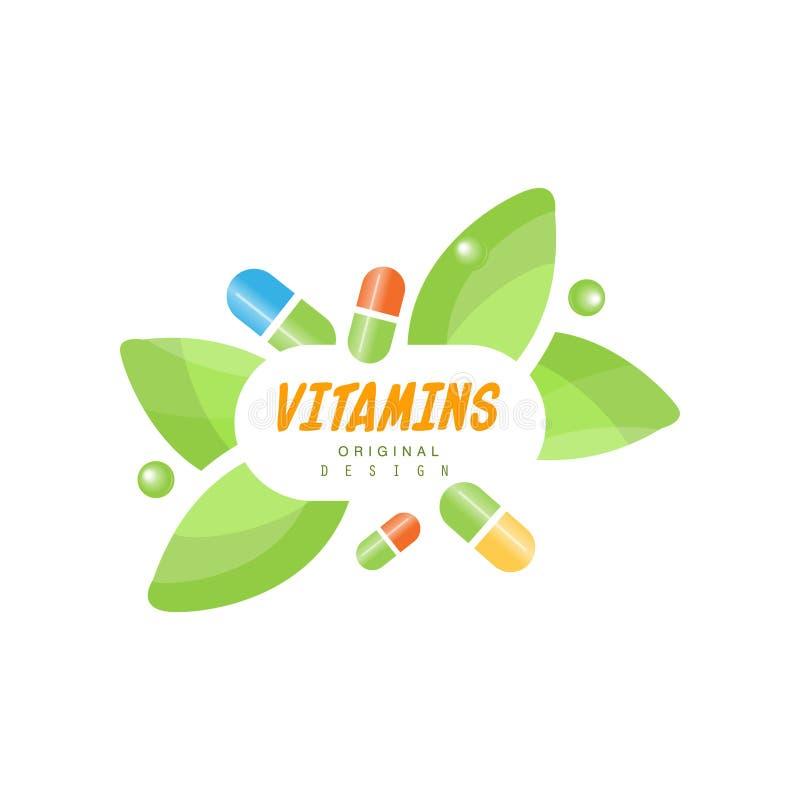 Free Vitamins Logo Original Design, Herbal Supplement, Natural Medicine Colorful Vector Illustration Stock Photography - 107055242