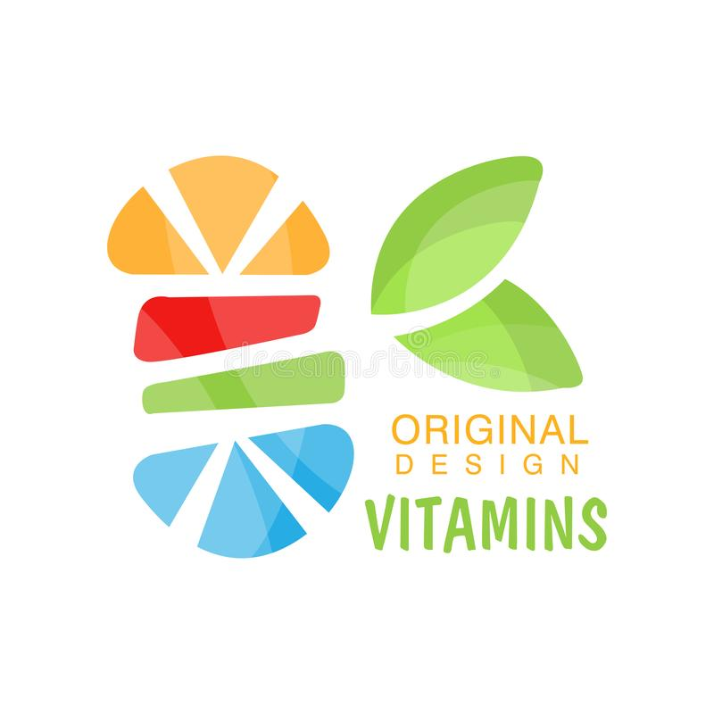 Vitamins logo original design, herbal supplement, natural medicine colorful vector Illustration. Isolated on a white background royalty free illustration