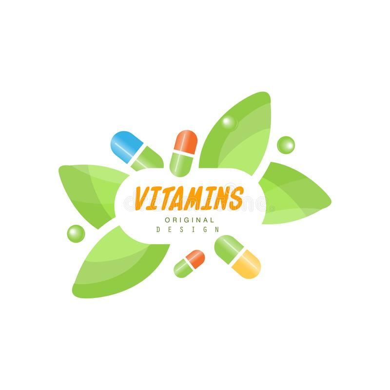 Vitamins logo original design, herbal supplement, natural medicine colorful vector Illustration. Isolated on a white background vector illustration