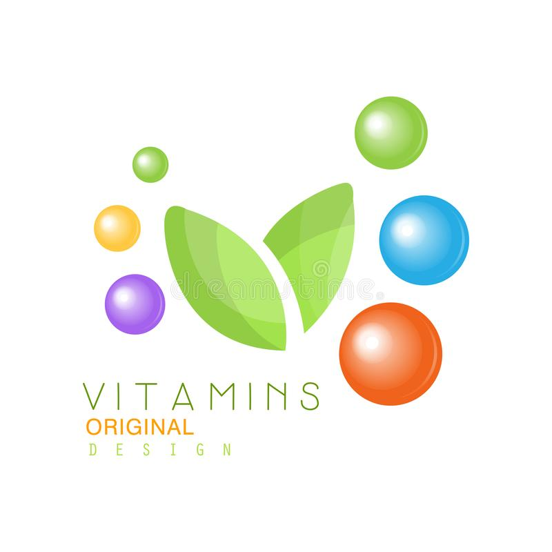 Vitamins logo original design, pharmacy label, natural medicine vector Illustration. Isolated on a white background royalty free illustration