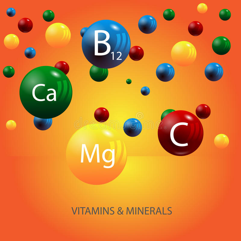Vitamins and minerals background eps 10. Illustration stock illustration