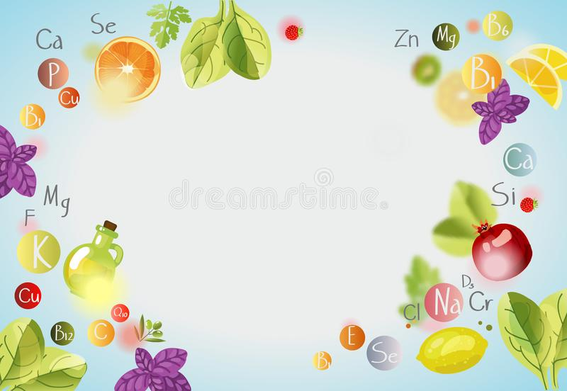 Vitamins and minerals. Background with vitamins,. Minerals and fresh fruits and greens. A healthy diet is the basis of a healthy lifestyle royalty free illustration
