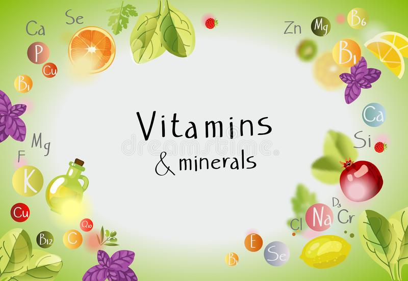 Vitamins and minerals. Background with vitamins,. Minerals and fresh fruits and greens. A healthy diet is the basis of a healthy lifestyle stock illustration