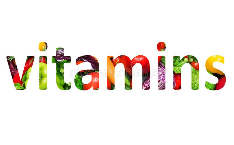 Vitamins, multi-colored text cut out of vegetables photo, the inscription on white background. Vitamins, multi-colored text cut out of vegetables photo, the vector illustration