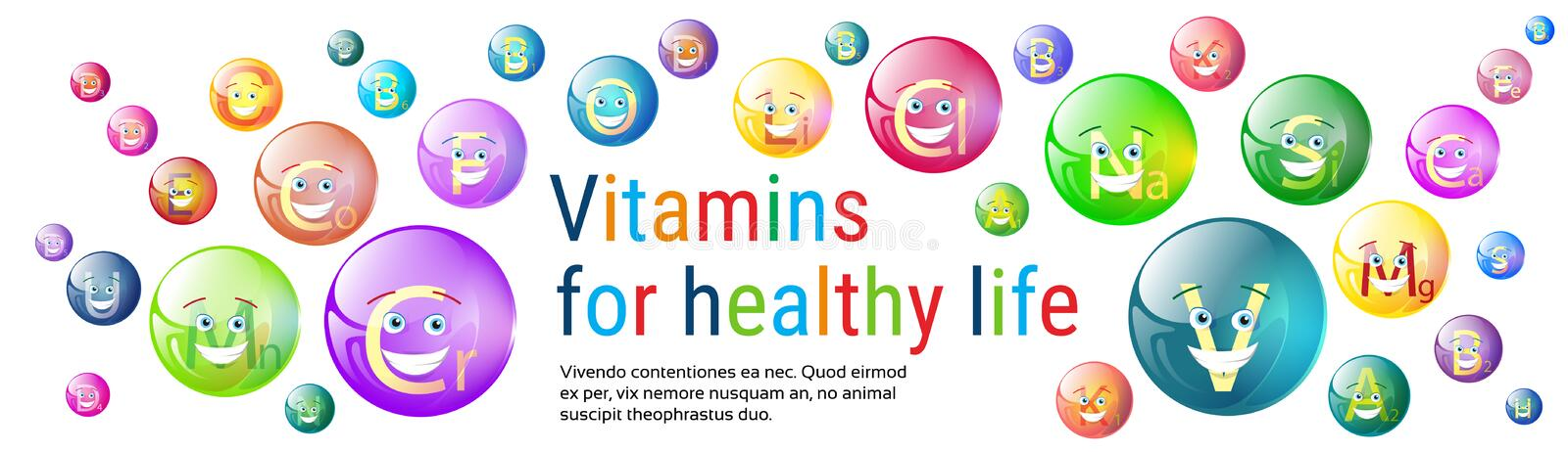 Vitamins Nutrient Minerals Colorful Banner Healthy Life Nutrition Chemistry Element Concept. Flat Vector Illustration royalty free illustration