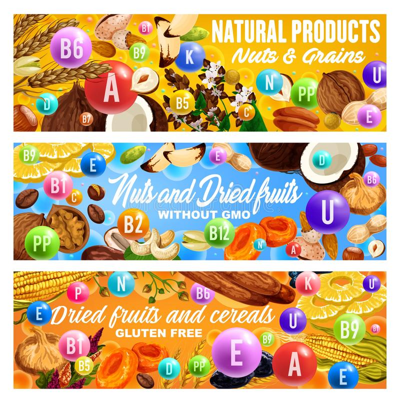 Nuts, dried fruits, cereals vitamins. Health food. Vitamins in nuts, dried fruits, grains and cereals. Vector raisins, almond and dates, peanut, pineapple and stock illustration
