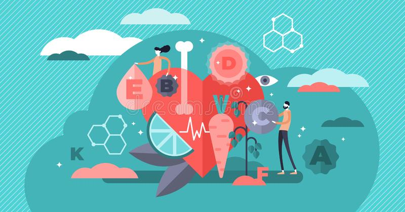 Vitamins vector illustration. Flat tiny healthy lifestyle persons concept. Fresh organic food as vegetarian nutrition set for whole essential chemical elements stock illustration
