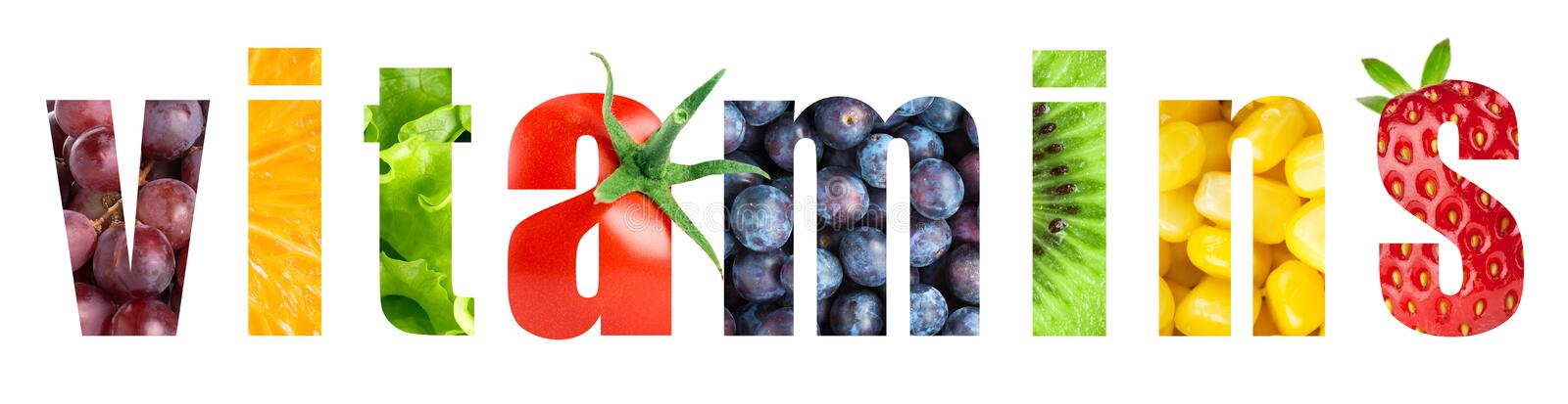Vitamins. Word on white background. Fresh fruits and vegetables