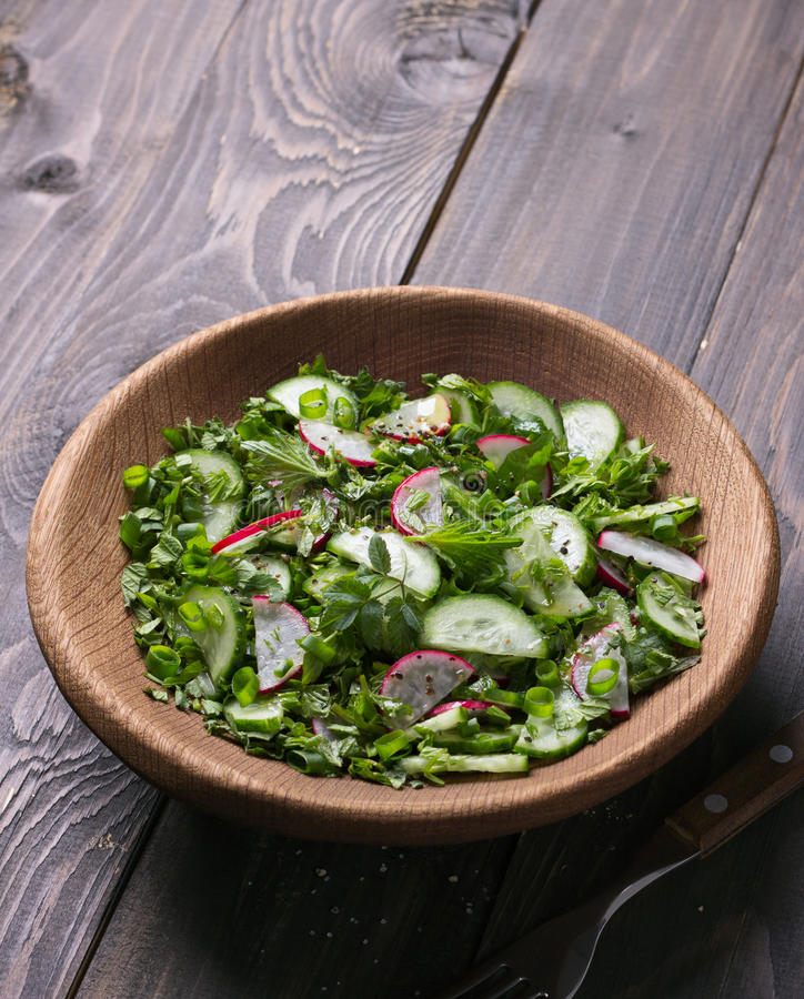 Vitaminsallad av lösa örter med gurkan, rädisan och salladslökar arkivfoto